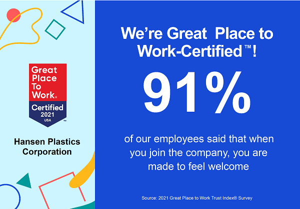 Hansen Plastics is a certified Great Place to Work!
